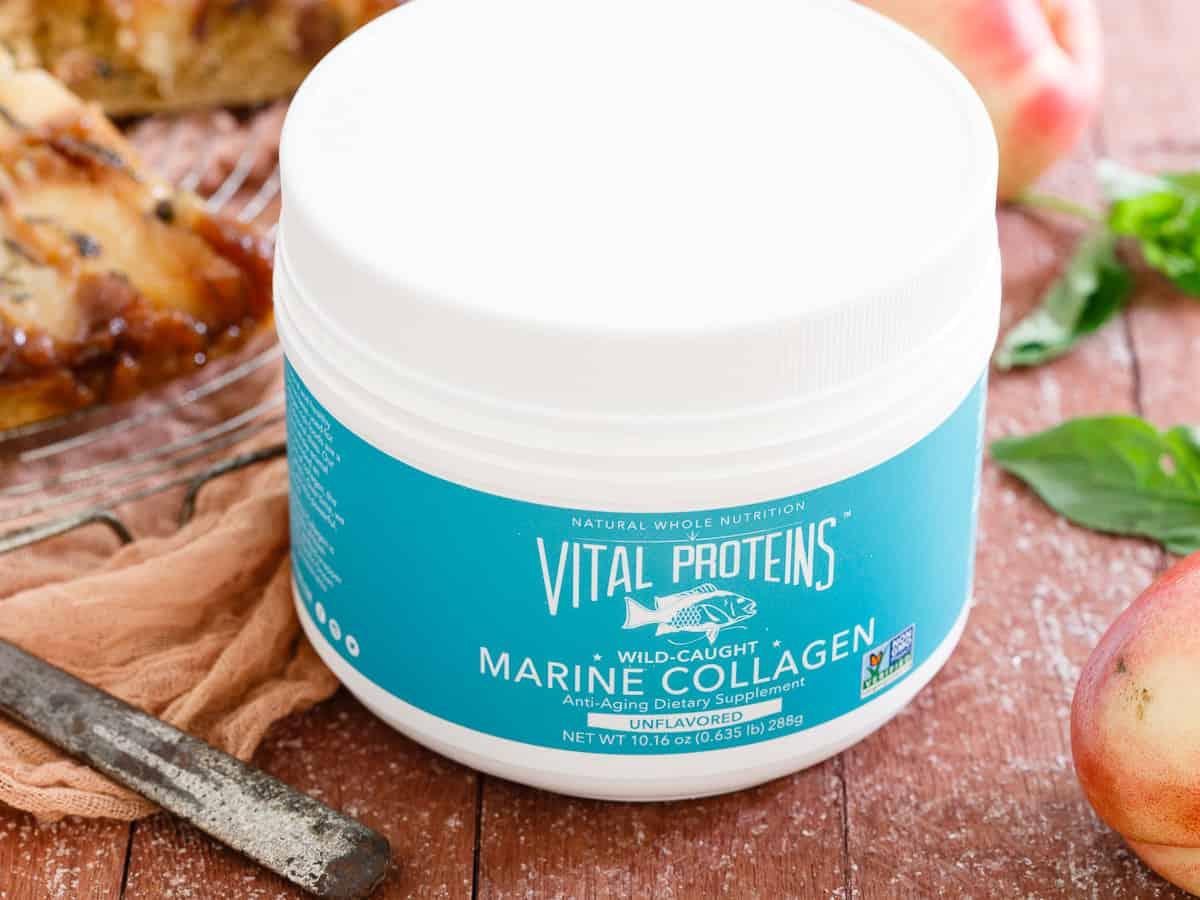 Basil Nectarine Upside Down Cake using Vital Proteins marine collagen.
