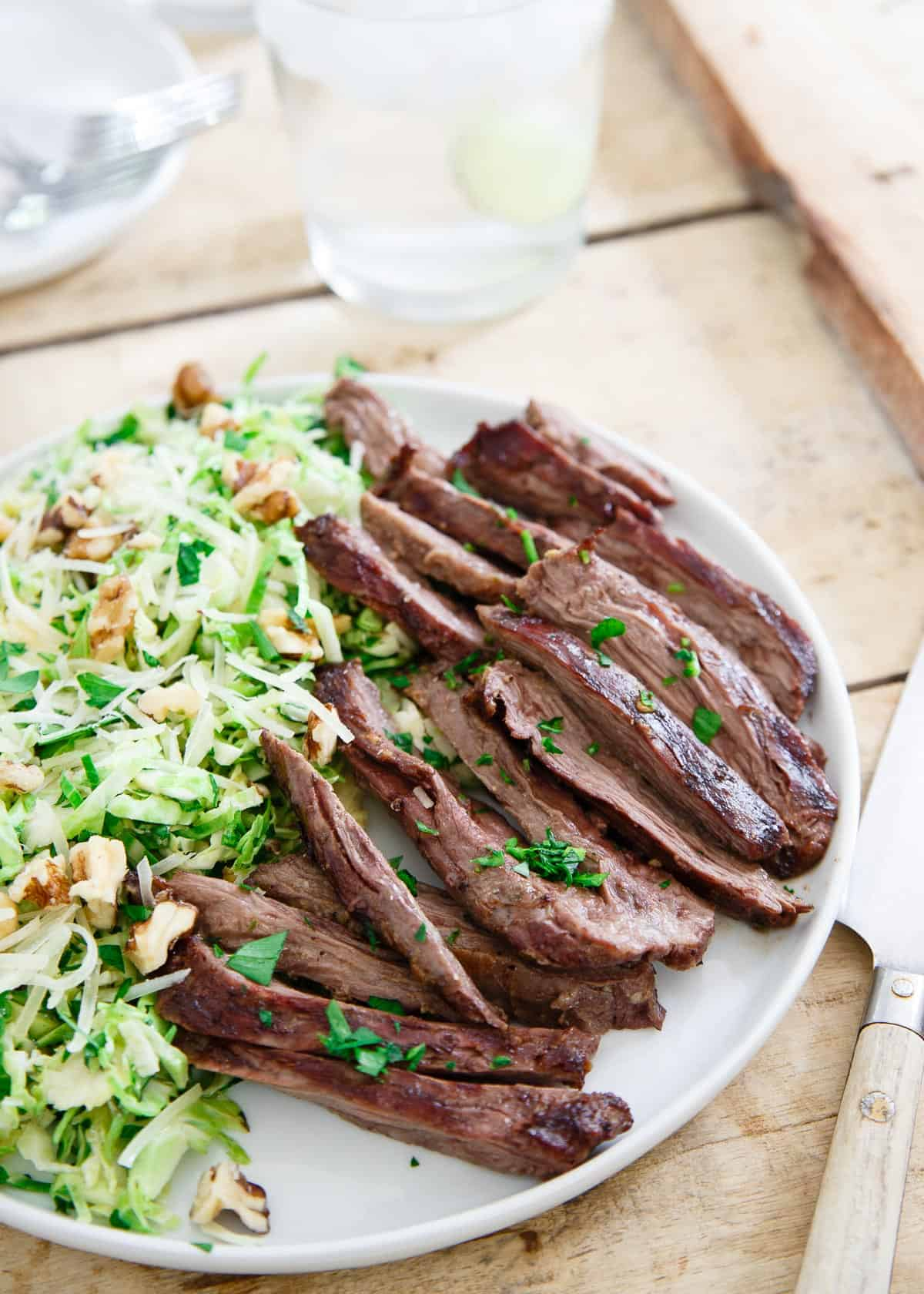 Grilled Skirt Steak with Brussels Sprouts Salad is a simple summer dinner that can be on the table in minutes.