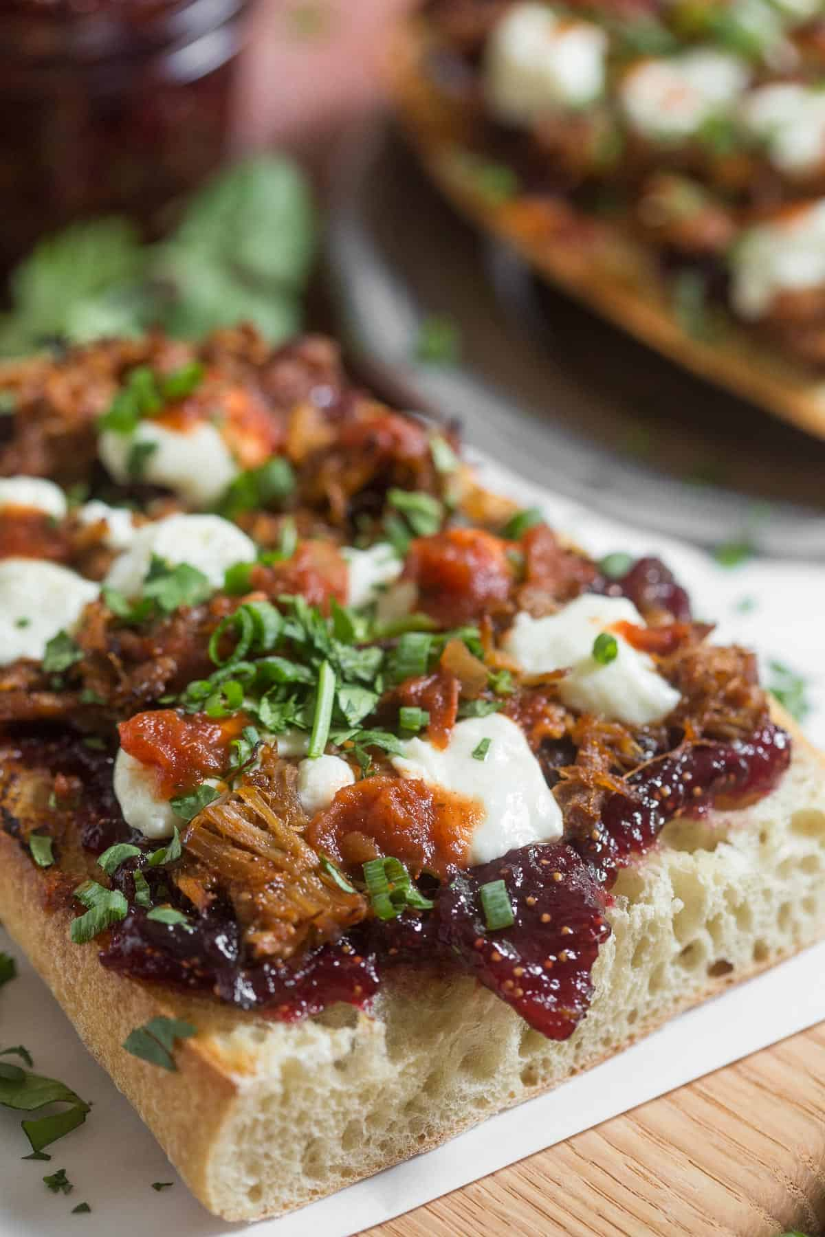 Use homemade fig preserves on this easy open faced fig and pig sandwich.