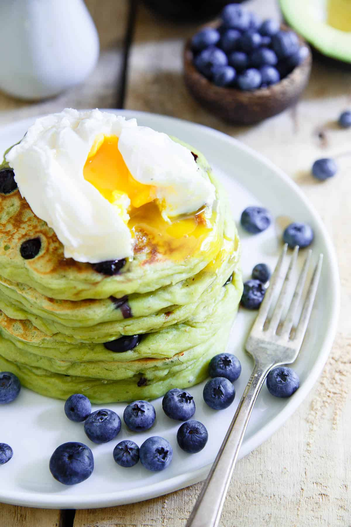 Blueberry Avocado Pancakes made with ripe California Avocados are the perfect start to the day.