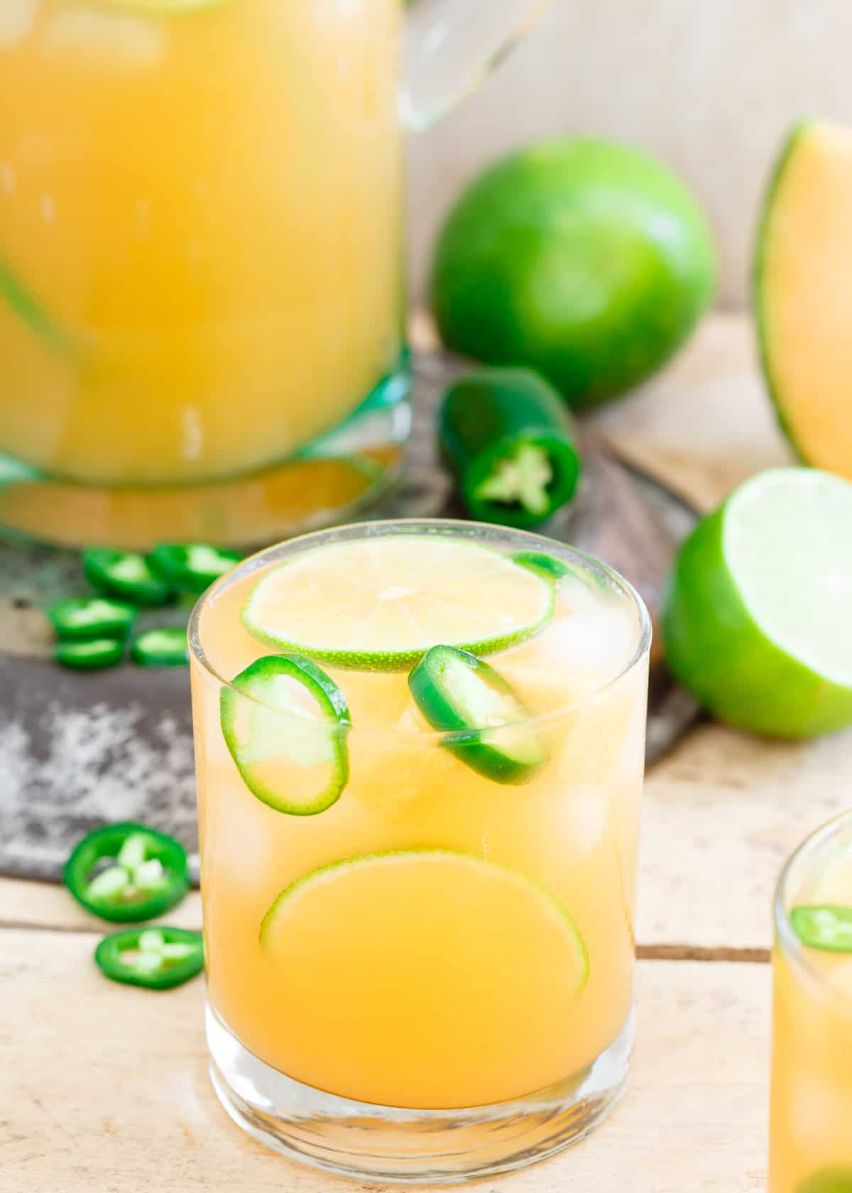 Cantaloupe Lime Jalapeno Agua Fresca is a refreshing summer drink that has it all, sweet, tart and spicy!