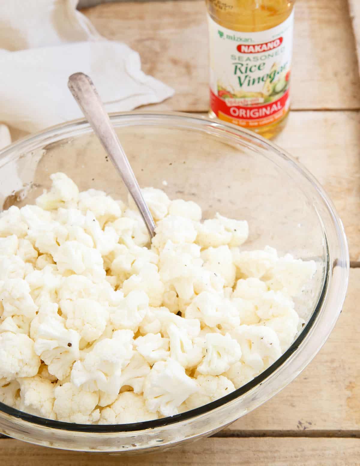 Salt and Vinegar Popcorn Cauliflower using Nakano Original rice vinegar.