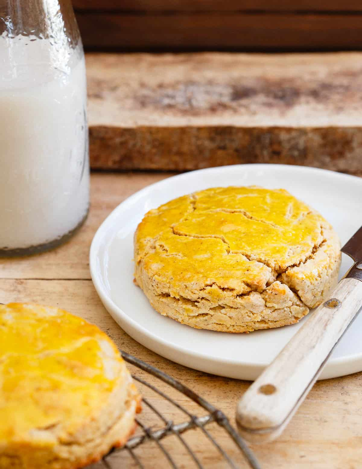 These Vanilla Butternut Squash biscuits are grain and gluten free but bake up just like a real biscuit. Soft and butter on the inside with a flaky, crunchy outside.