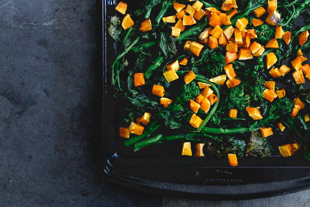 Roasted butternut squash and broccoli rabe make a delicious addition to this fall pasta.
