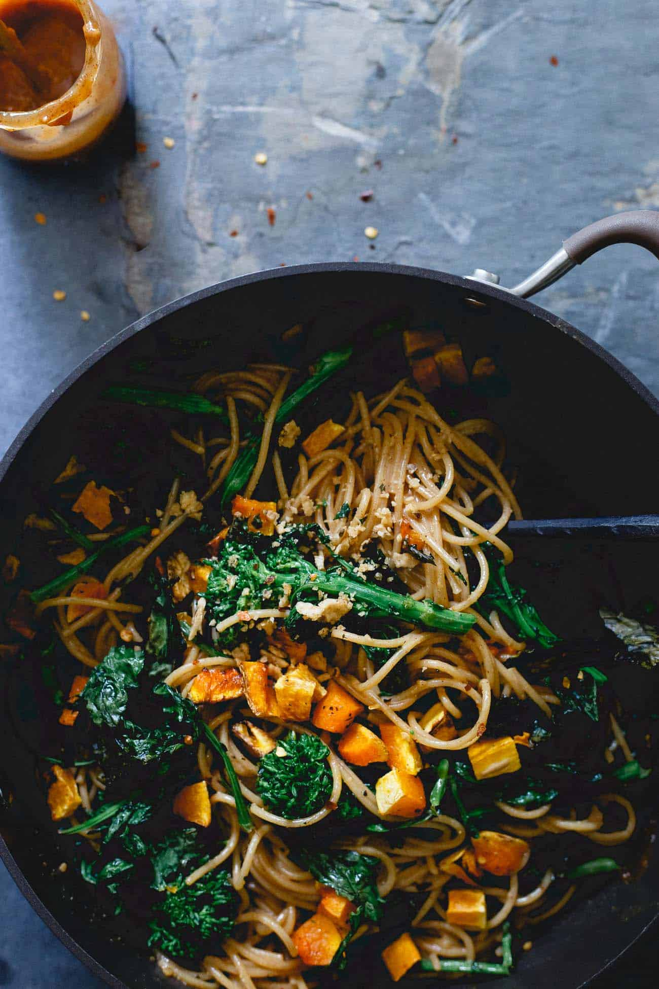 With roasted butternut squash and broccoli rabe, this fall pasta is a great seasonally appropriate comfort food dish.