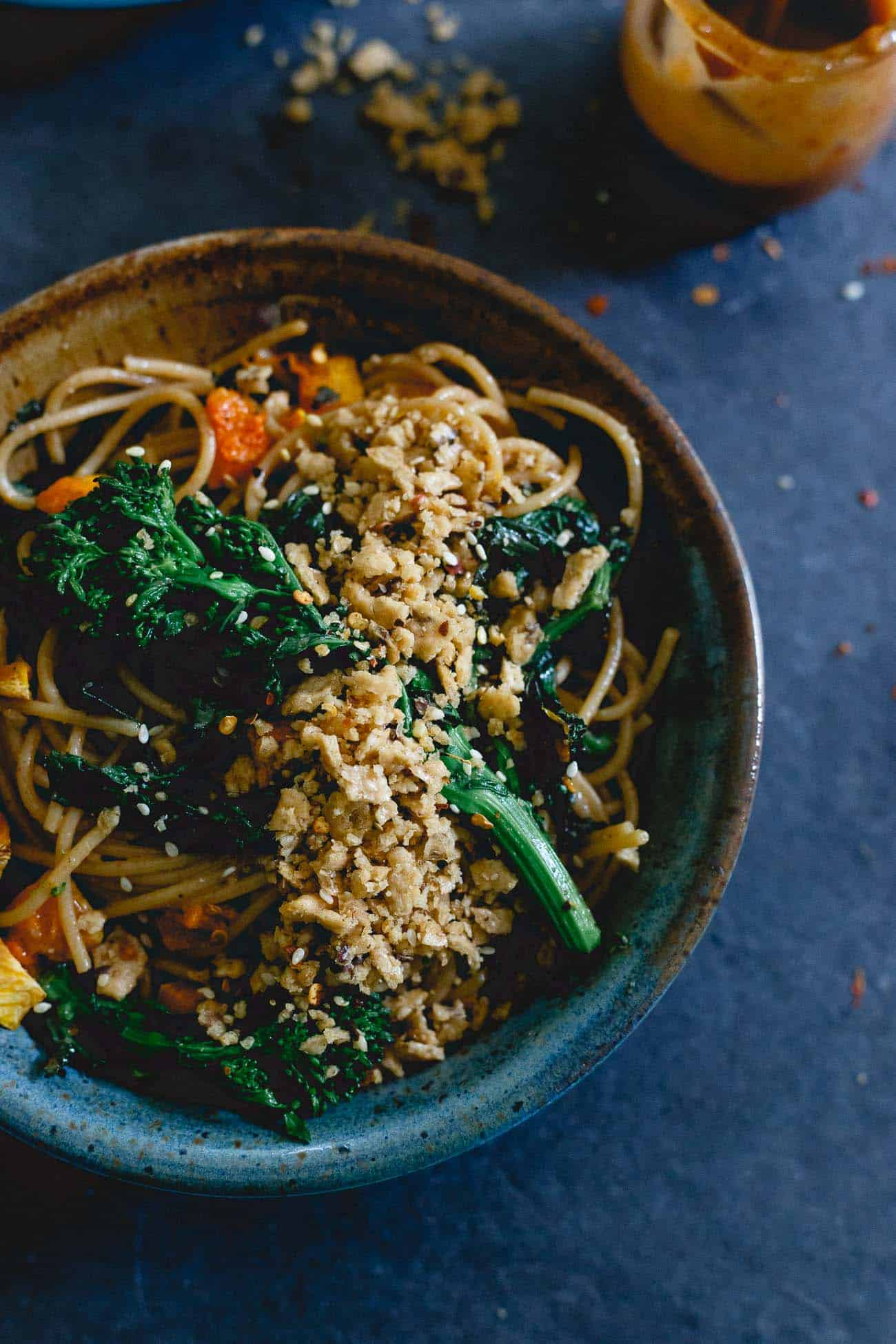 This fall pasta is filled with roasted butternut squash and broccoli rabe, tossed in a creamy almond butter sauce and topped with a buttery garlic cracker crumble.