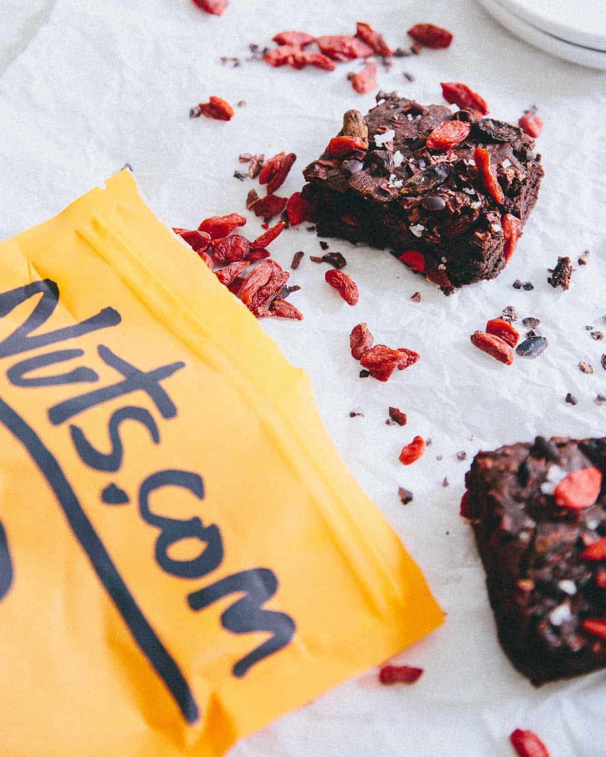 Superfood Brownies made with goji berries and cacao nibs from Nuts.com are fudgy, chewy and even gluten free!