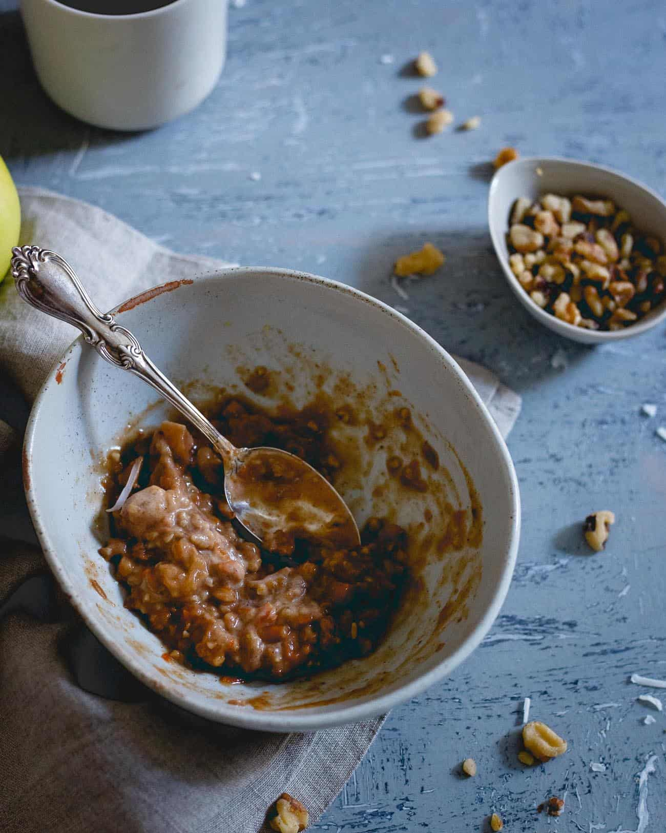 Cozy, warm and comforting, this carrot cake oatmeal with apples and apple butter is the perfect way to start your fall day.