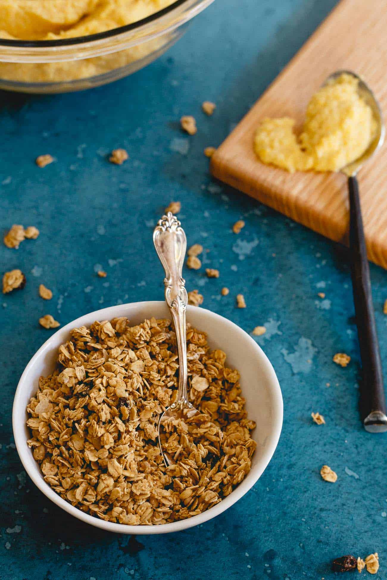 Gluten free vanilla granola tops this creamy cauliflower pumpkin mash for an added touch of sweetness and crunch.