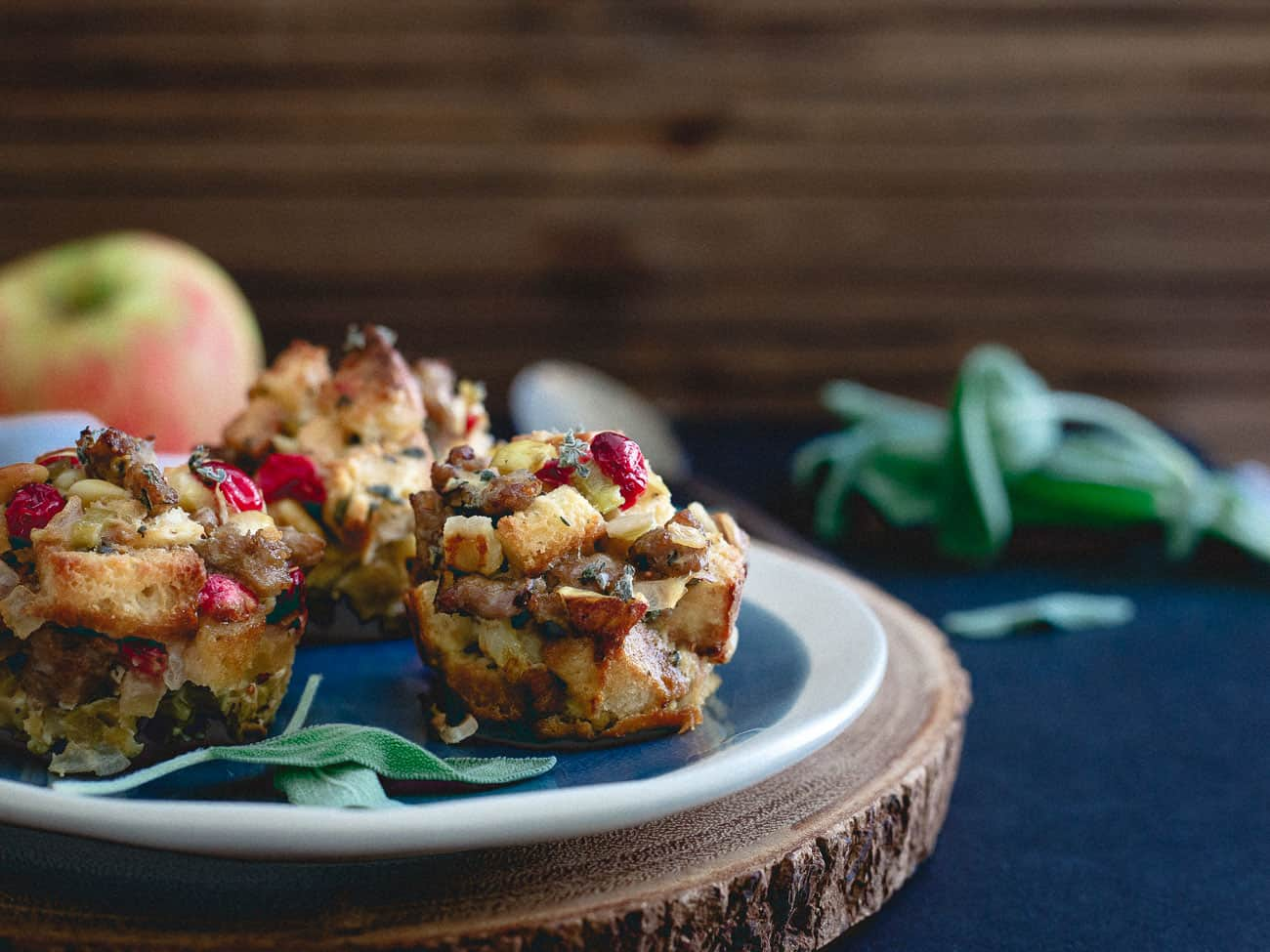 Sausage cranberry apple stuffing muffins are a delicious addition to your Thanksgiving table.
