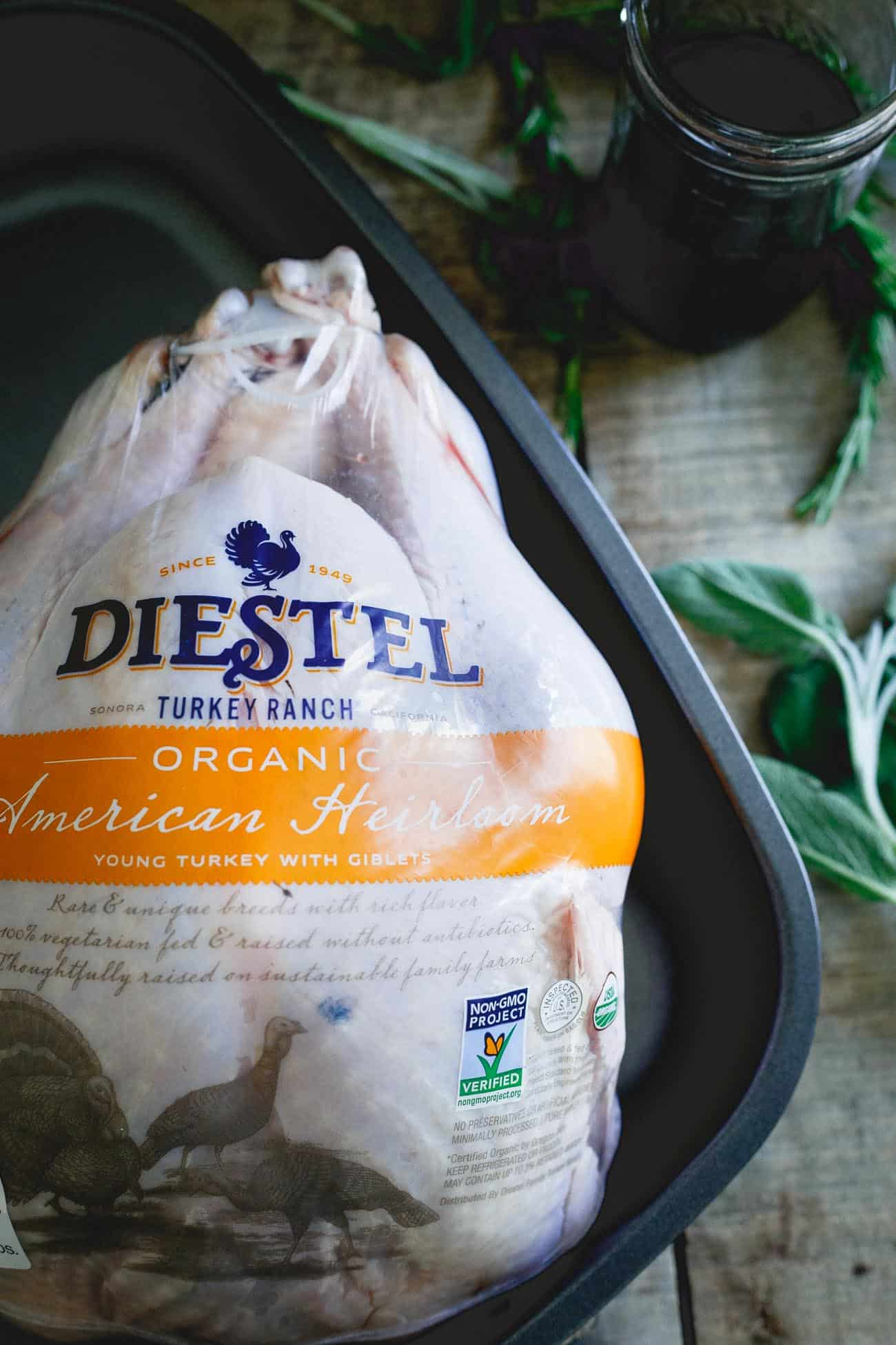 Diestel turkey ranch's organic American heirloom turkey is roasted to perfection with a cherry cranberry glaze.