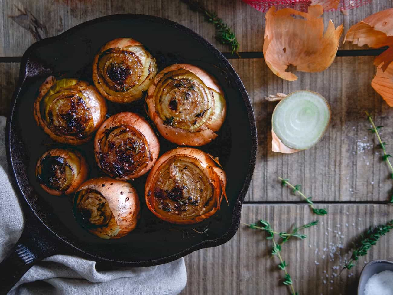 Whole roasted onions make a great side dish, especially perfect for a nice steak dinner!
