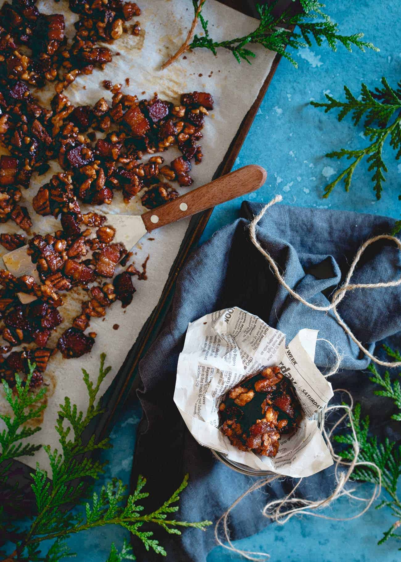 Jar up some of this candied bacon nut brittle for an easy DIY holiday gift anyone will love!