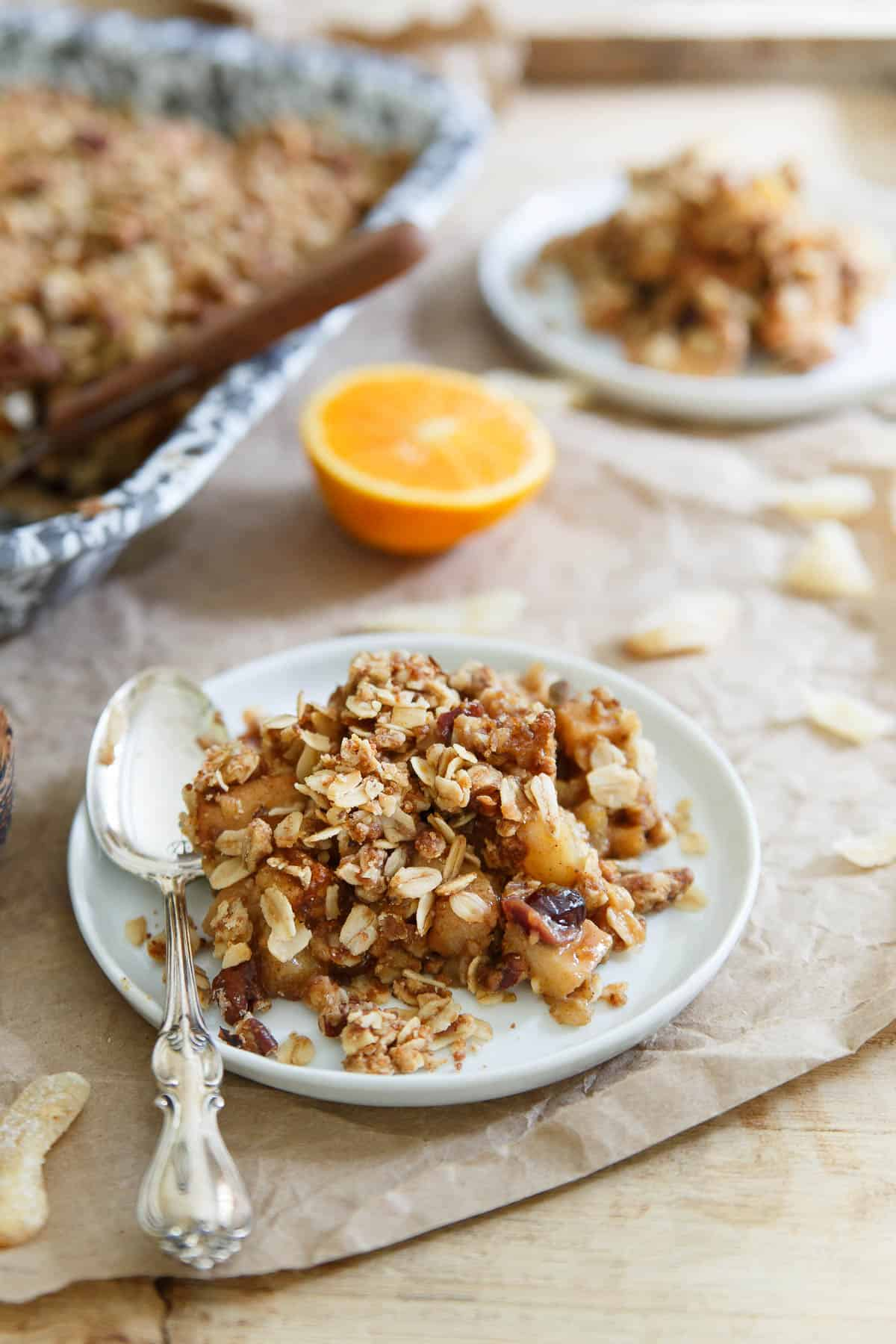Orange Ginger Pear and Quince Crisp would complete any fall meal. A great Thanksgiving dessert alternative.