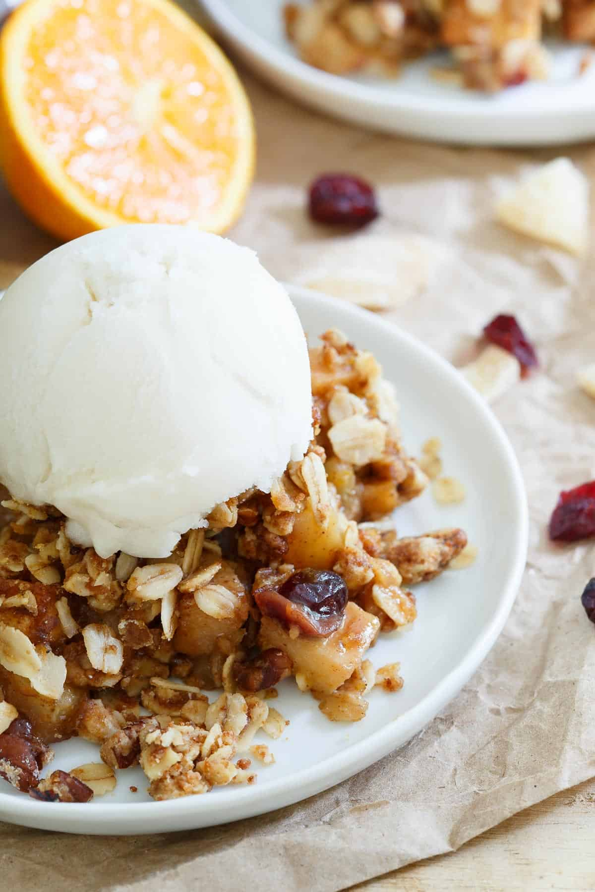Orange Ginger Pear and Quince Crisp is even better with a scoop of vanilla ice cream. Grab your spoon and enjoy!