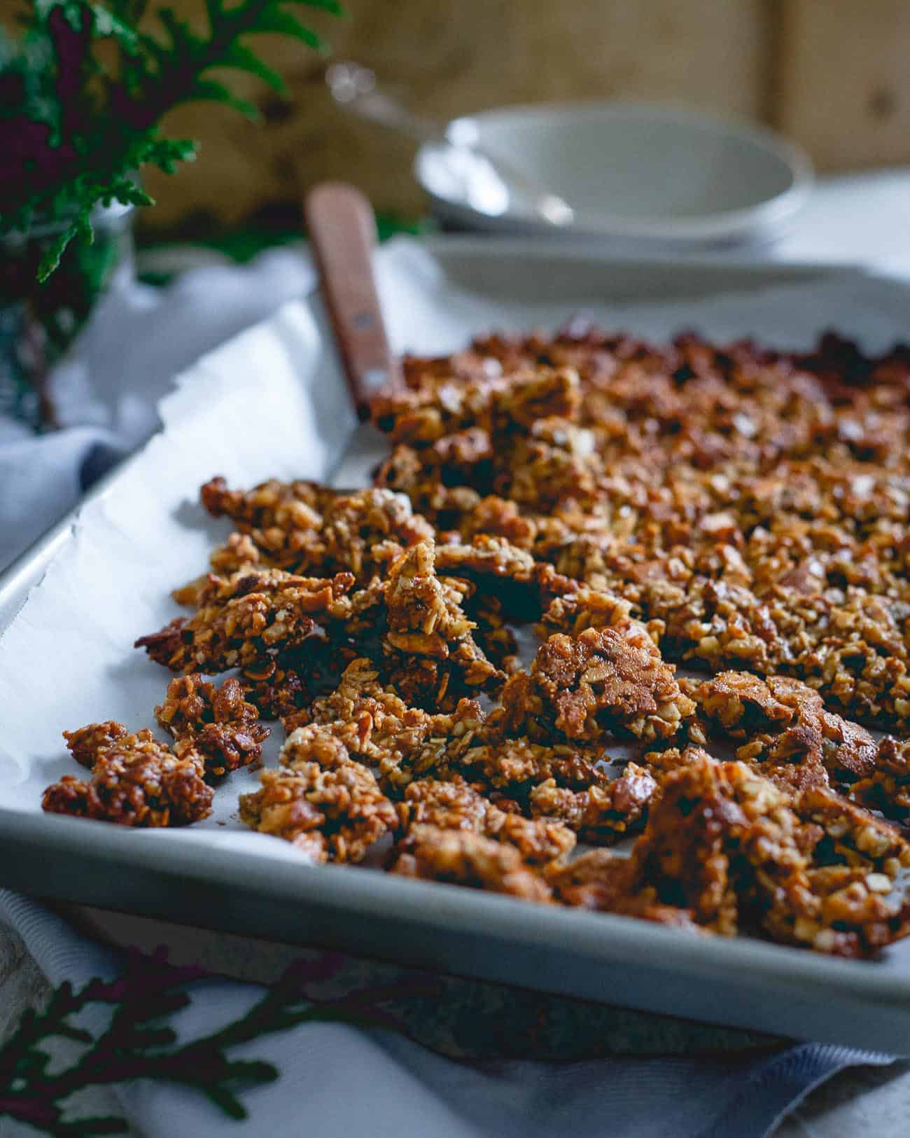 Great with milk, yogurt or just plain, this paleo gingerbread granola is a delicious treat for wintertime.