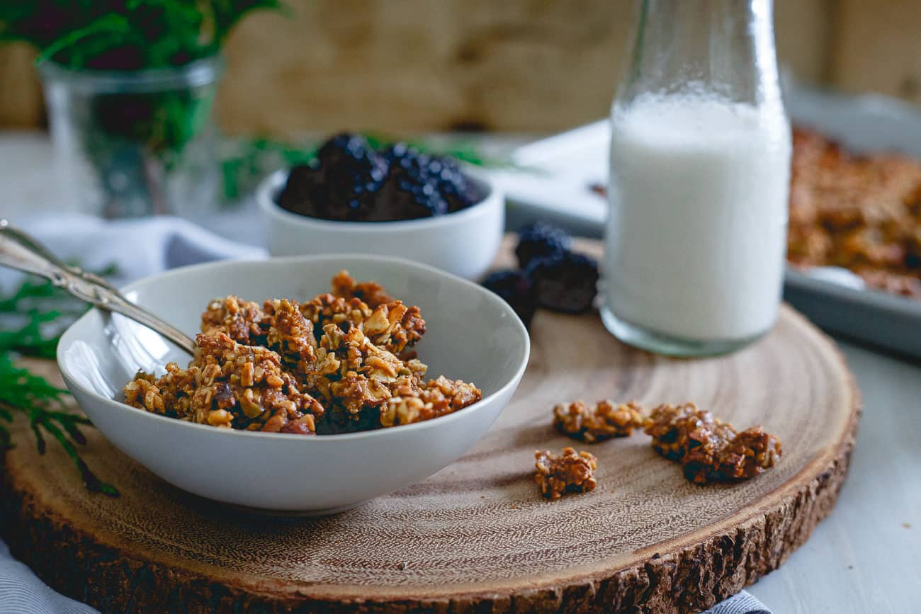 Pour some almond milk on top and call this gingerbread granola the perfect afternoon snack for winter.