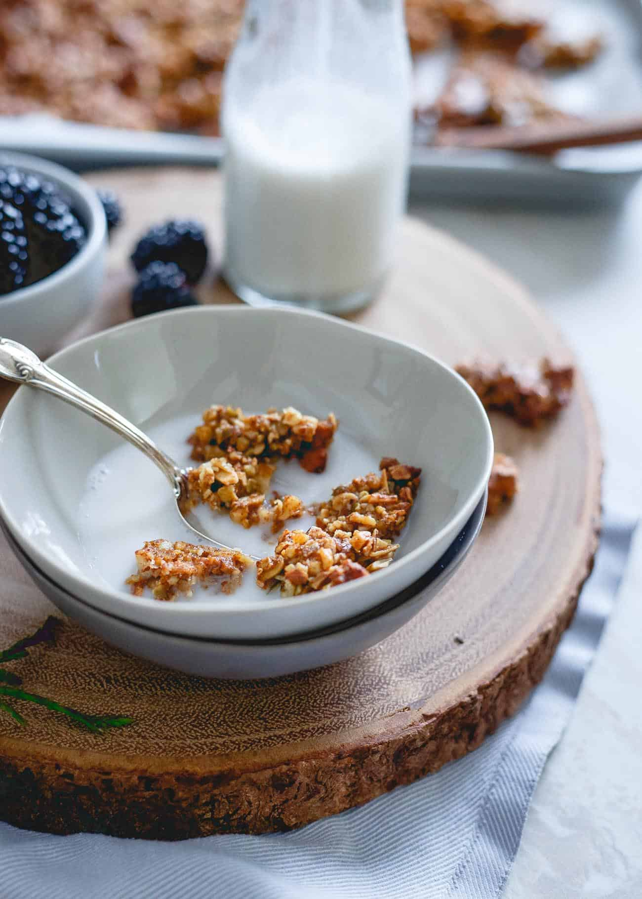 Crunchy, sweet and full of wintertime spices, this gingerbread granola is also paleo friendly and a deliciously festive breakfast or snack.