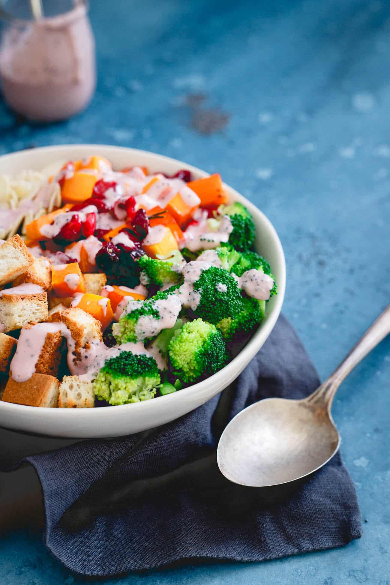 This fall panzanella cranberry broccoli salad is a healthy way to enjoy everything the season has to offer.