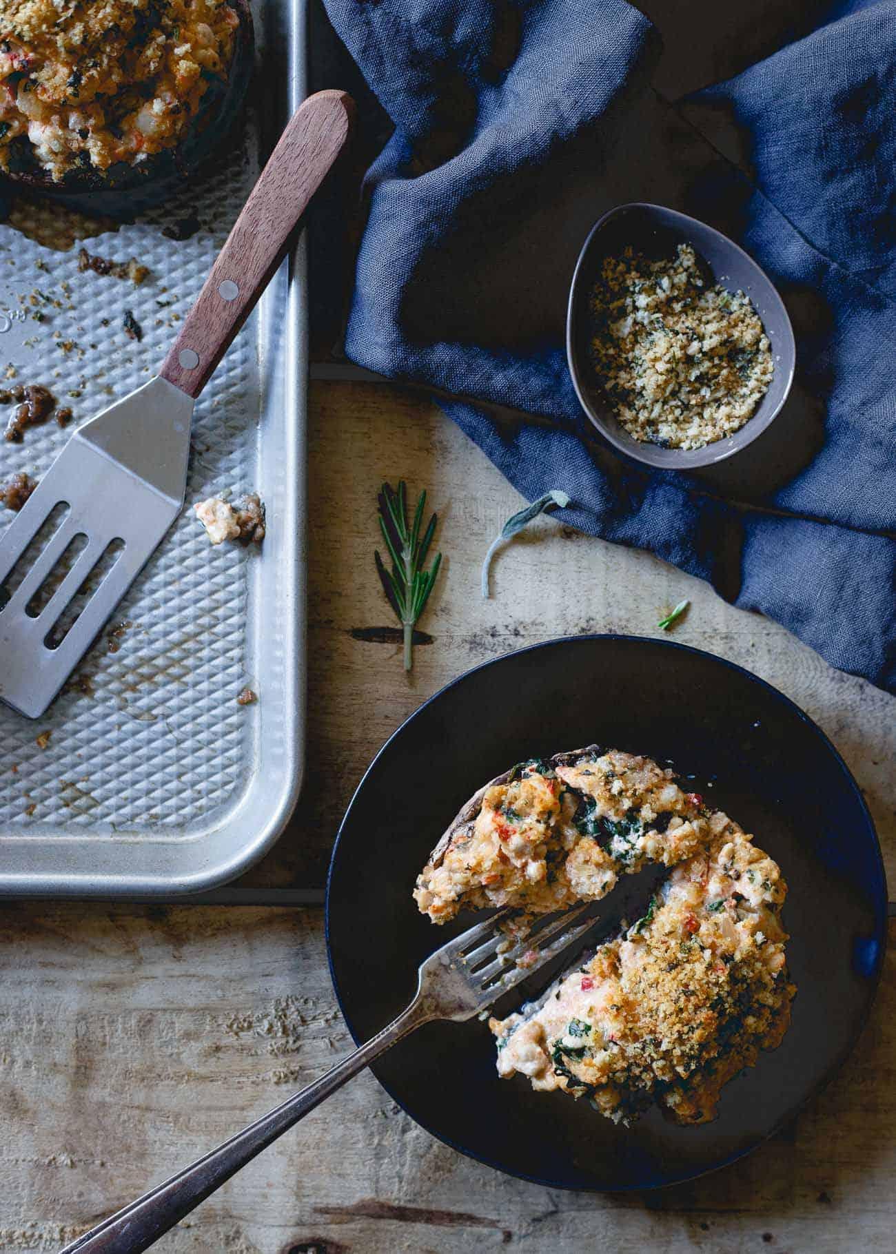 Creamy black garlic cheese makes these turkey stuffed portobello mushrooms decadent and delicious!