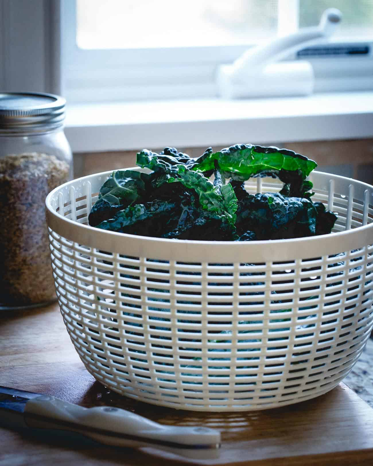 Tuscan kale and freekah combine for a hearty take on twice baked acorn squash.
