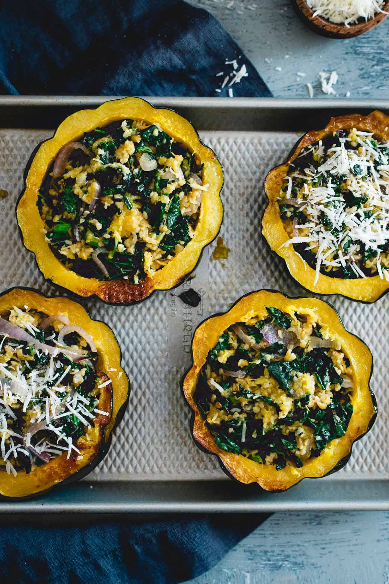 Kale, freekah and pecorino romano combine in these fall inspired twice baked acorn squash.