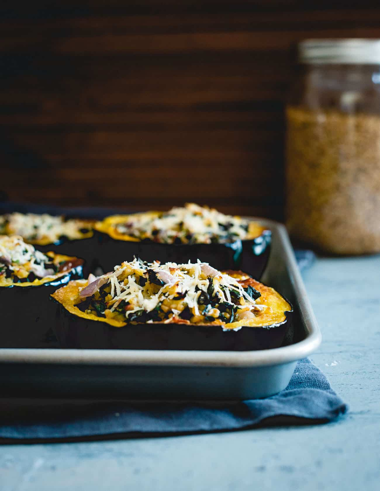 These twice baked acorn squash are a lovely, hearty fall dish that's plenty filling on its own or perfect as a side.