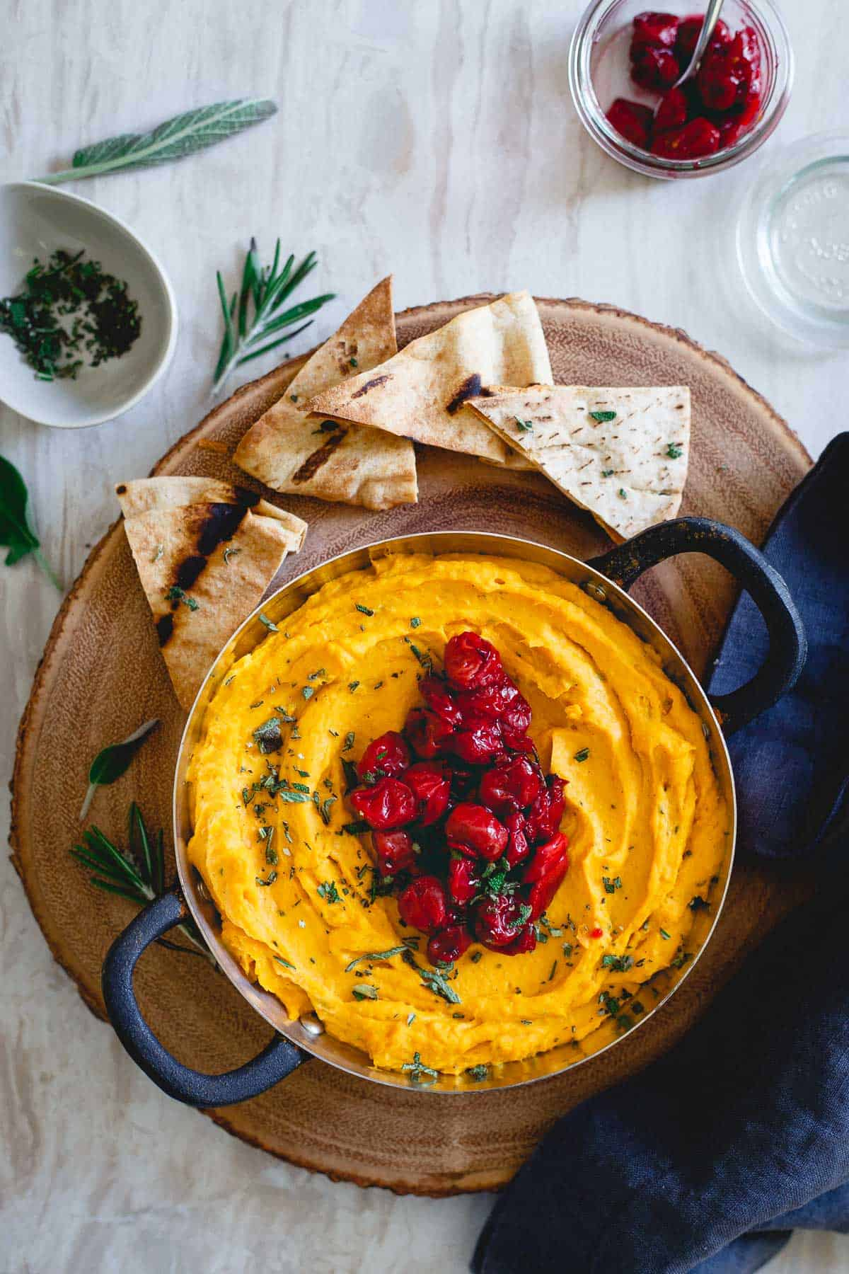 Serve this butternut squash dip with tart cherry compote alongside some toasted pita chips or fresh vegetables for an easy and festive holiday appetizer.