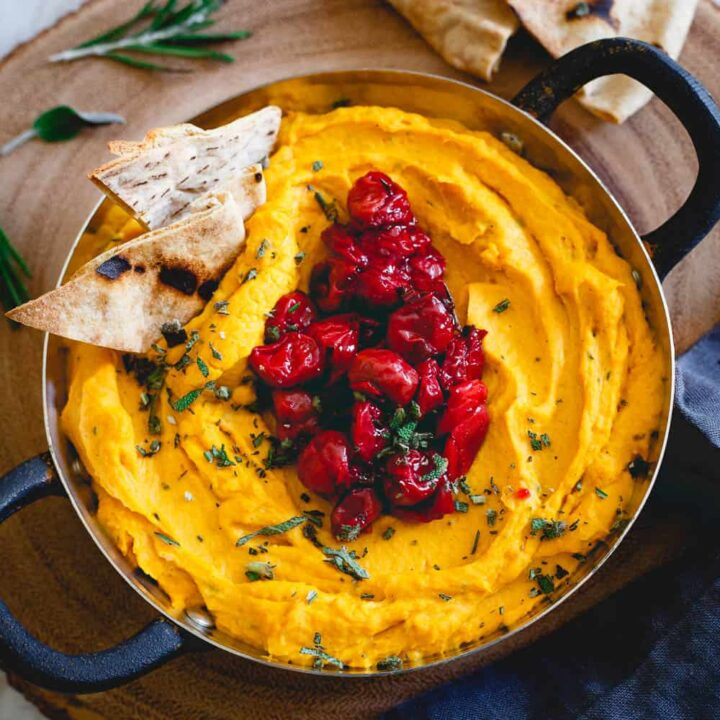This butternut squash dip is made with goat cheese and cream cheese for a super creamy texture then topped with a festive Montmorency tart cherry compote. Serve it with some pita chips for theperfect holiday appetizer!