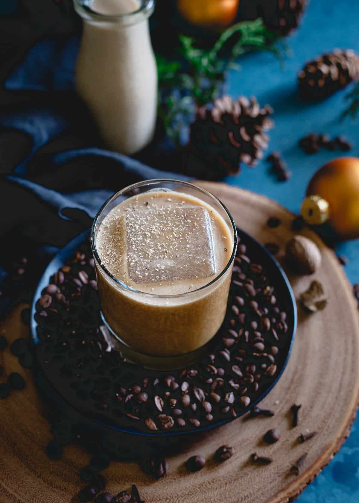 This coconut bourbon coffee nog is a cold, creamy, spiced milk drink perfect for the holiday season. Get your booze and caffeine kick at the same time!