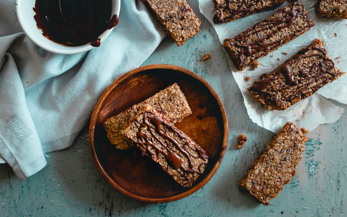 Chewy tart cherry oatmeal bars make a great option before or after your workout with a healthy balance of carbs, protein and fat.
