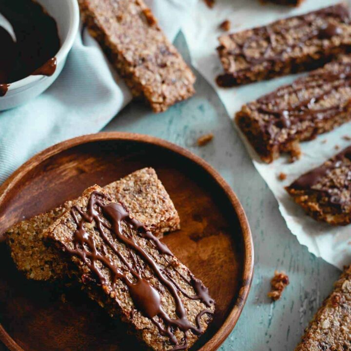 These Montmorency tart cherry oat bars are super chewy with an optional chocolate drizzle. Perfect for snacking or fueling up for a workout!