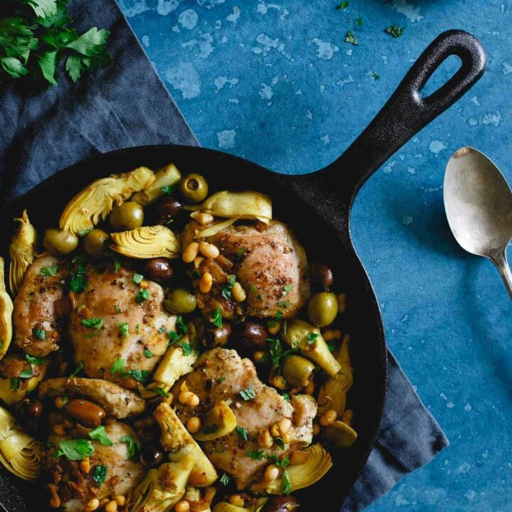 This one pan chicken artichoke olive skillet is filled with Mediterranean style ingredients for an easy weeknight meal packed with flavor.