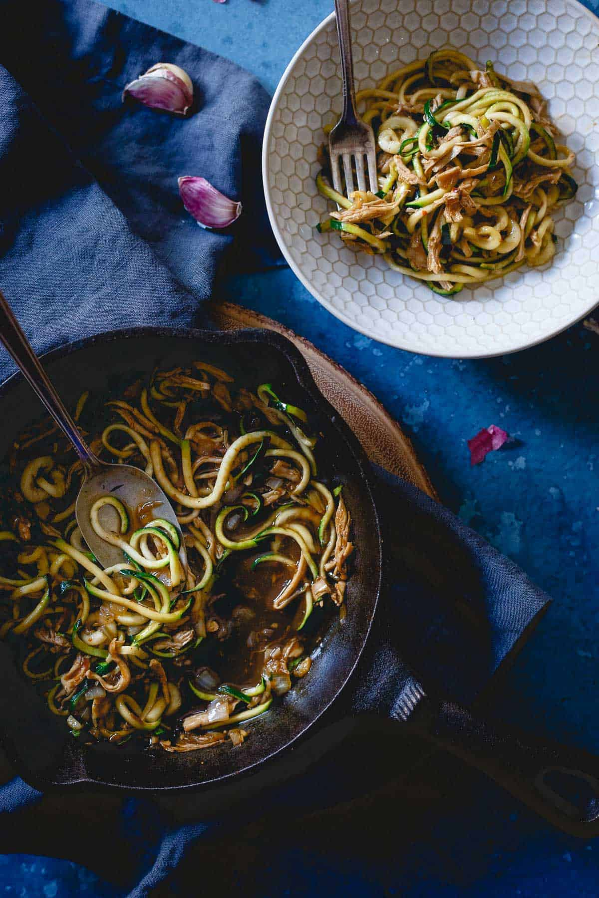 Start the New Year off in a healthy way with this quick and easy Chinese chicken zoodle dinner made in just 15 minutes!