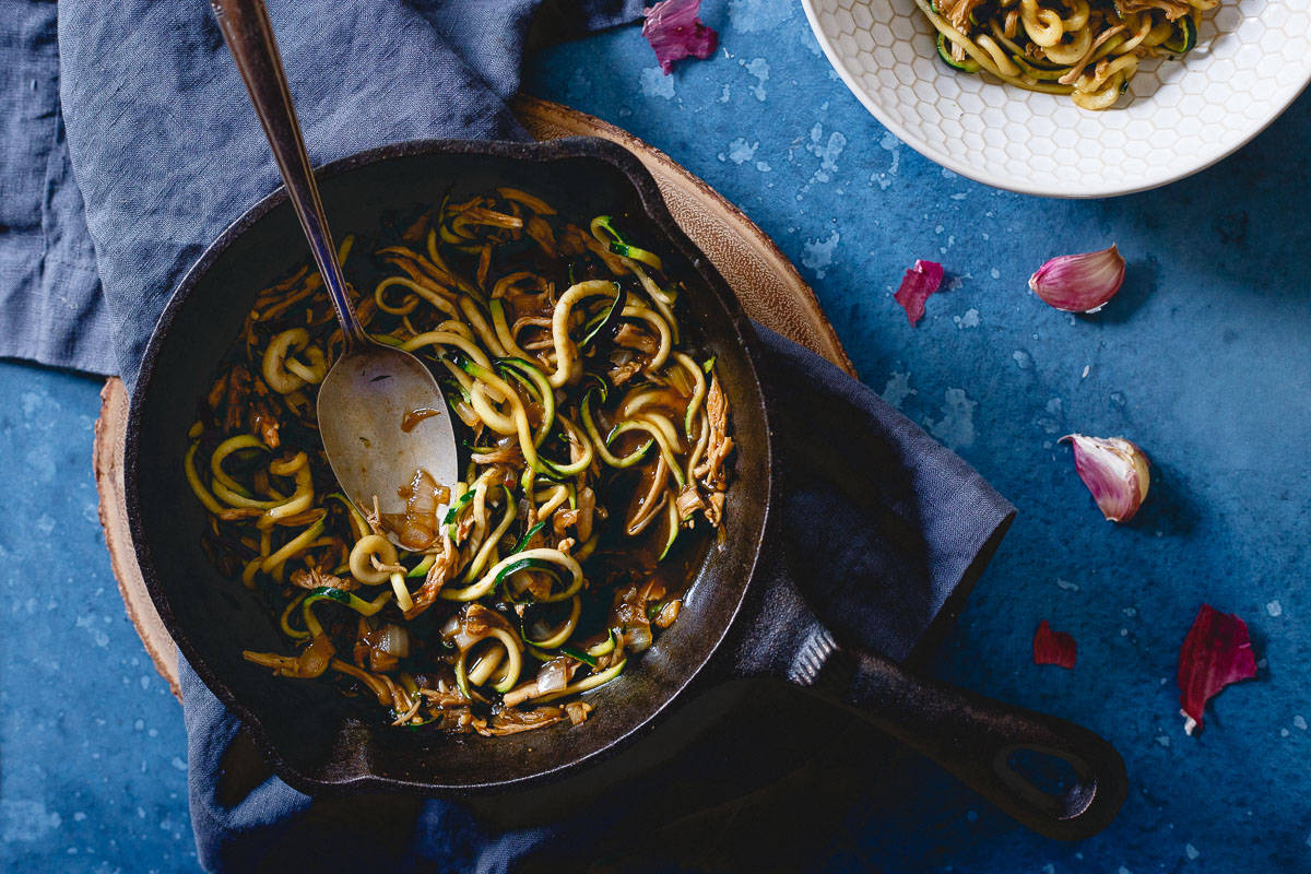 Spiralized zucchini gets a Chinese makeover with all the flavors of takeout in this simple 15 minute dinner.