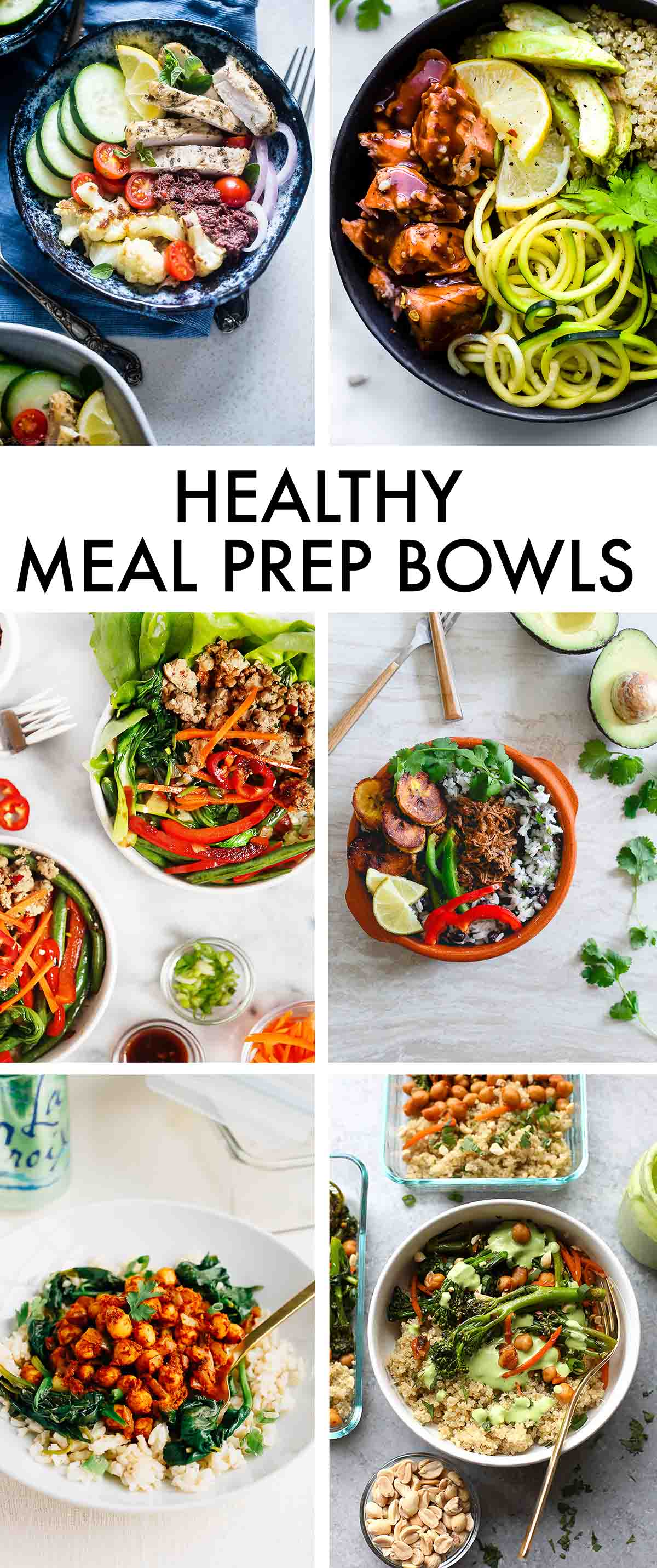 6 Healthy Meal Prep Bowl dinner ideas. From chicken to beef to salmon and chickpeas, there's something for everyone in this roundup!
