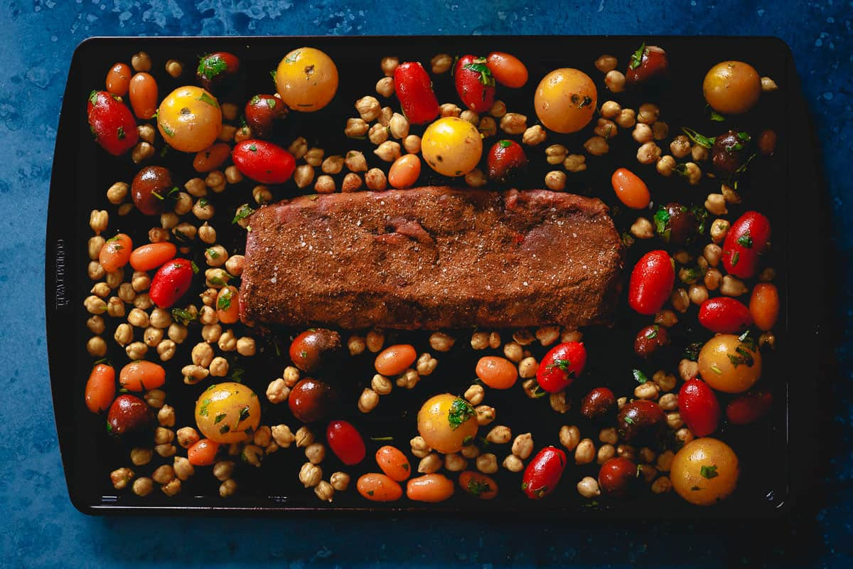 This one pan dinner lamb dinner is ready in just 20 minutes and packed with flavor.