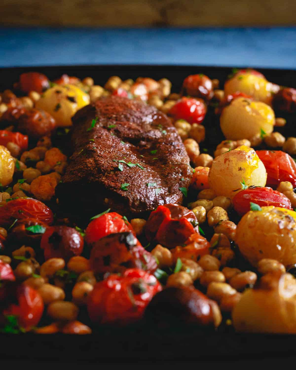 This sheet pan mediterranean roasted lamb dinner can't be beat. Ready in just 20 minutes and only one pan to clean up after!