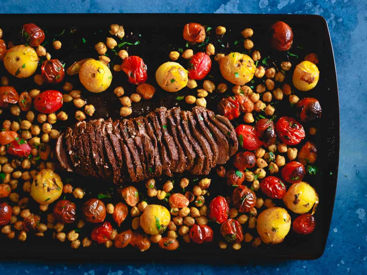 Feed the whole family on one pan and in just 20 minutes with this simple sheet pan roasted lamb.