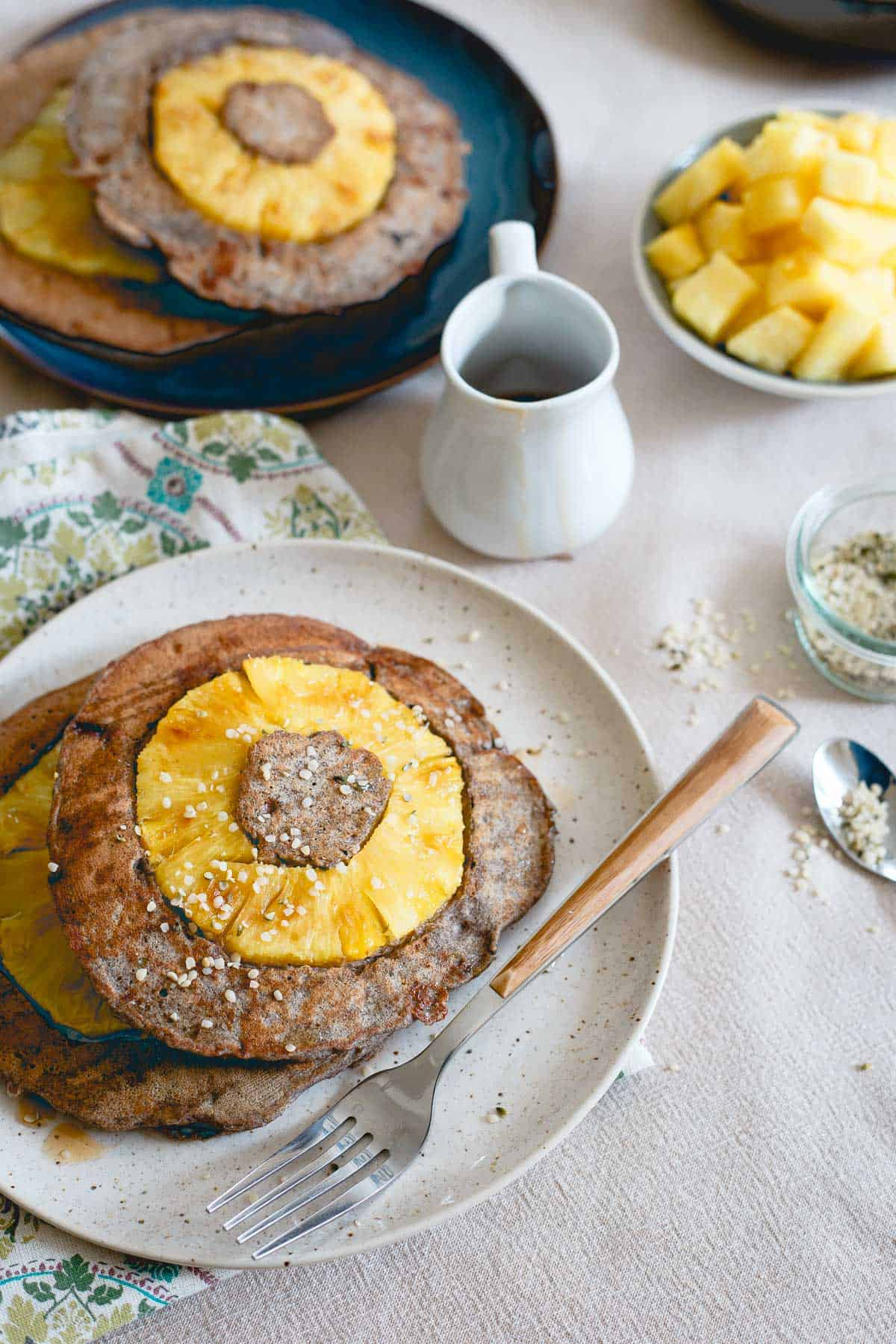 Gluten-free and hearty, these pineapple buckwheat pancakes are a great start to the day!