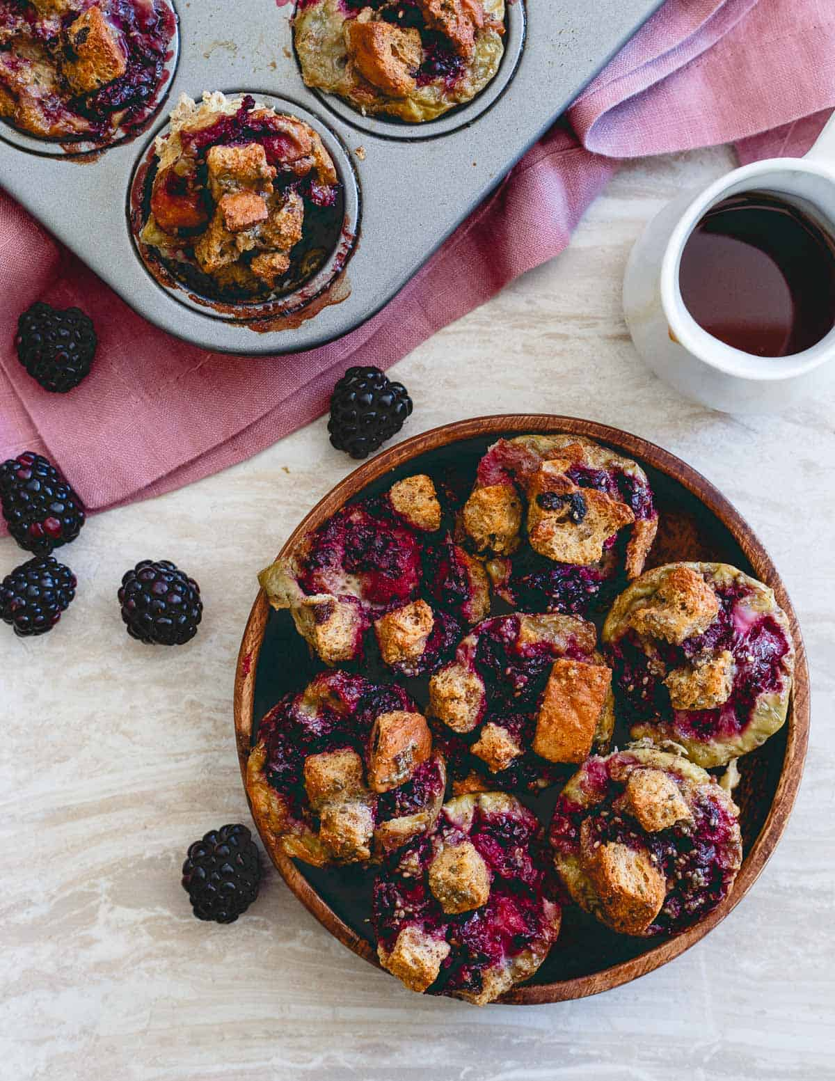 All the decadence and deliciousness of French toast in bite size form! Take these blackberry ginger French toast bites with you for an easy on the go breakfast!
