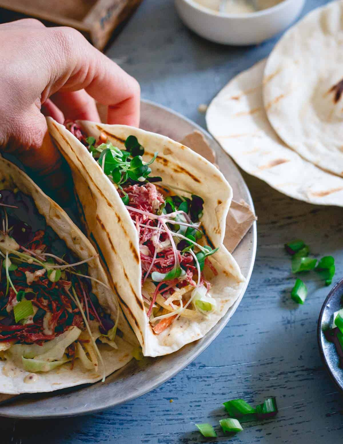 Corned beef tacos are a fun Mexican twist to the traditional Irish fare for St. Patrick's Day.
