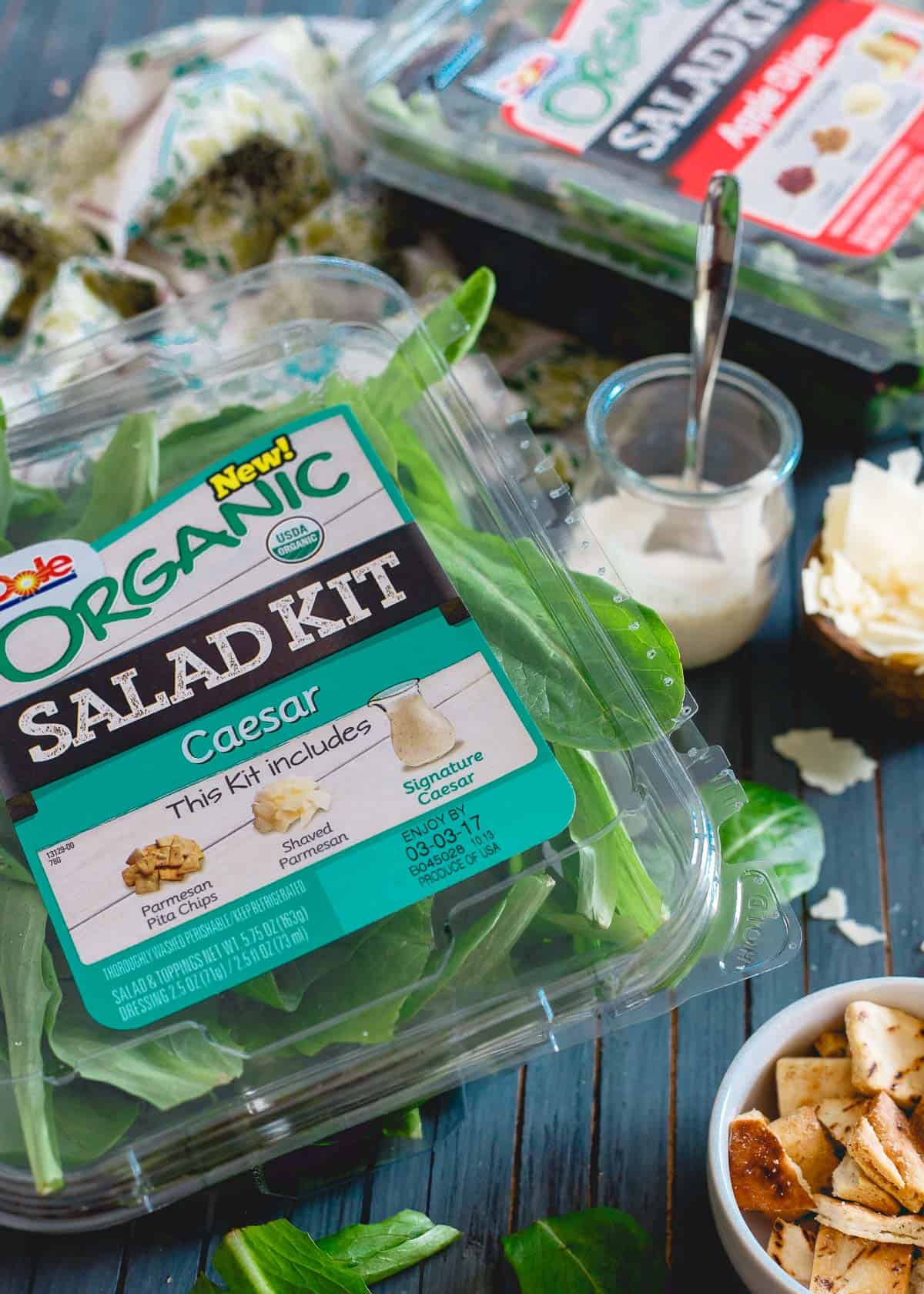 The caesar Dole organic salad kit is perfect for putting together these caesar salad stuffed sweet potatoes.