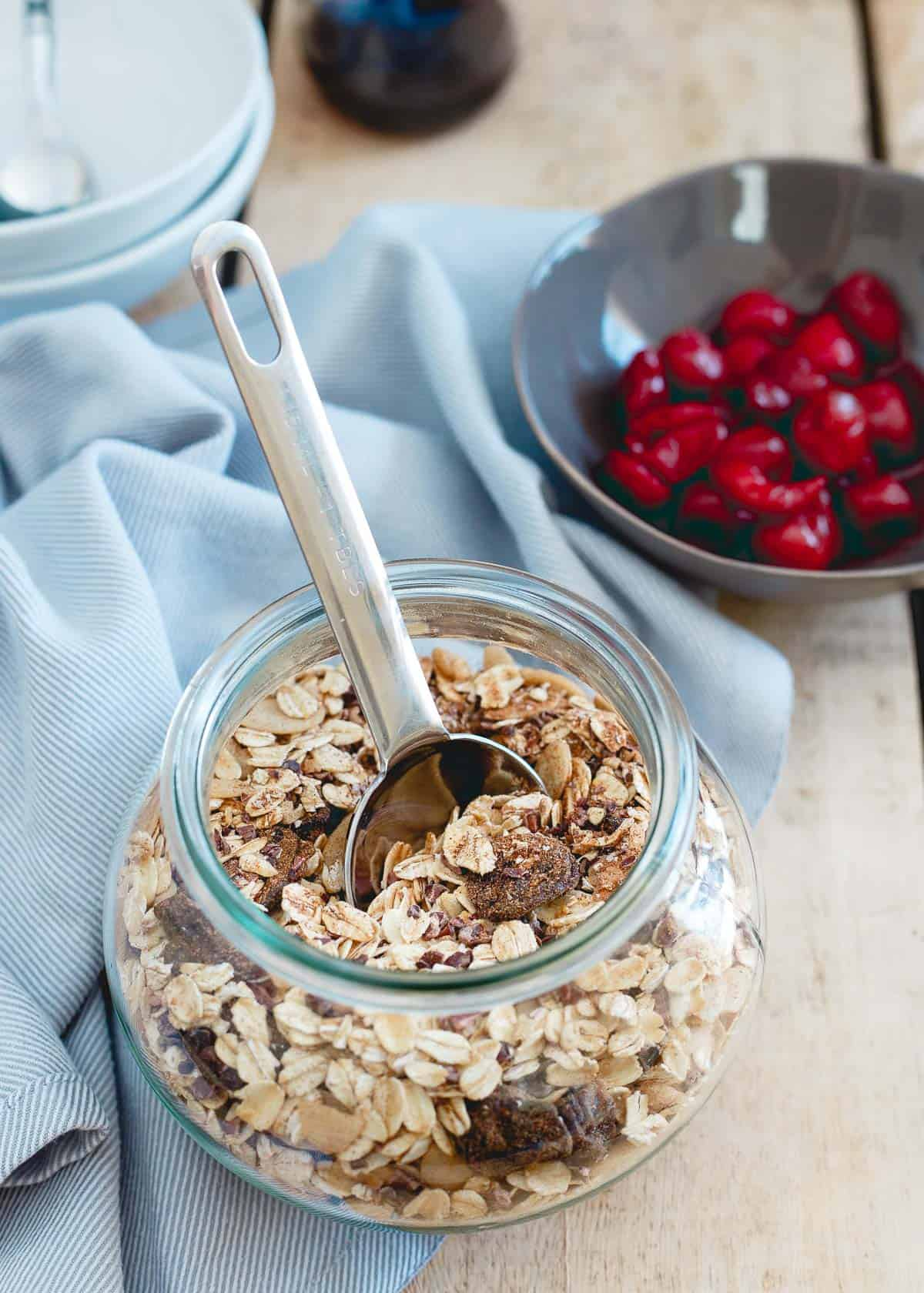 Tart Cherry Ginger Muesli is like a lazy man's oatmeal. All the tasty ingredients, none of the work!