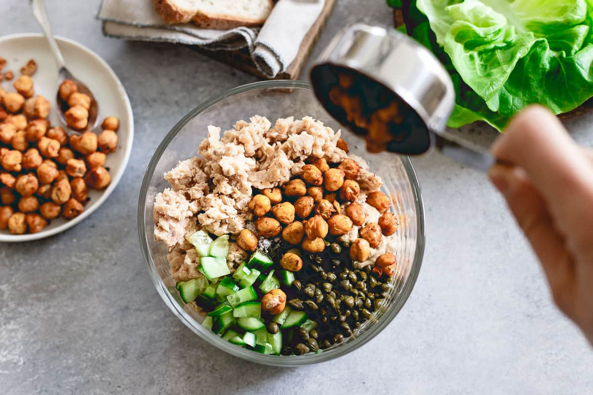 Smoky roasted chickpeas give this dijon dill salmon salad a pop of crunch and added protein!