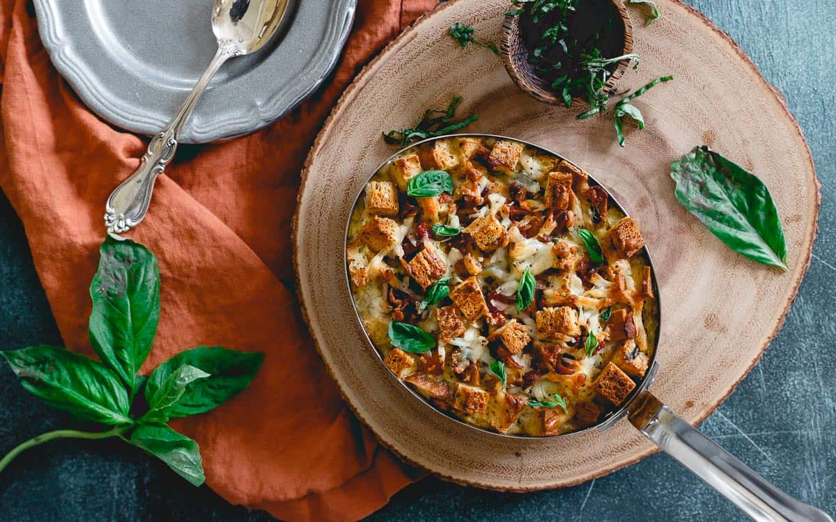 This breakfast strata is made with Udi's gluten free everything bagels for a delicious brunch option.