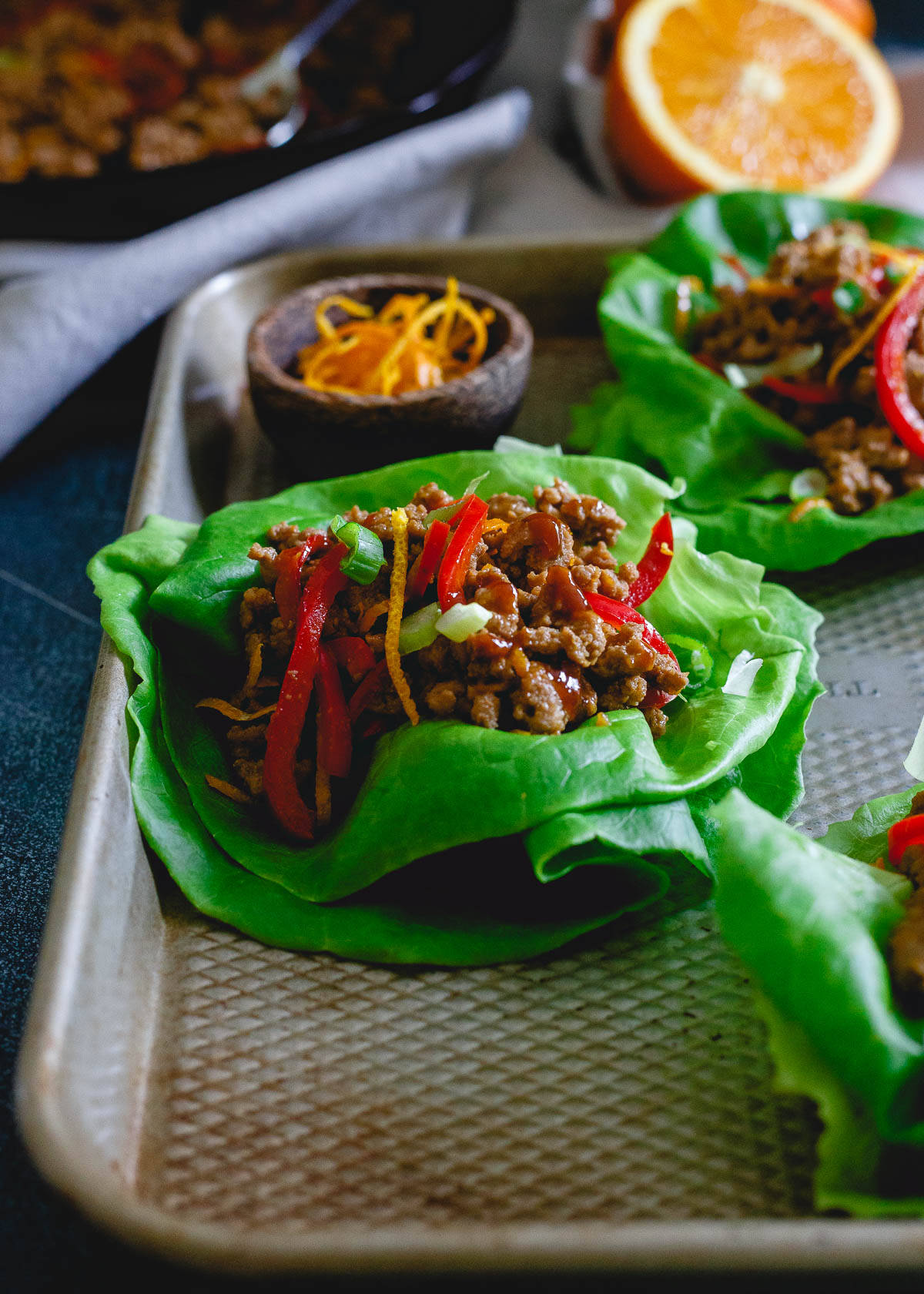 Lettuce wraps are the perfect healthy vehicle for this tasty orange turkey and make a simple, fresh meal in just 30 minutes.