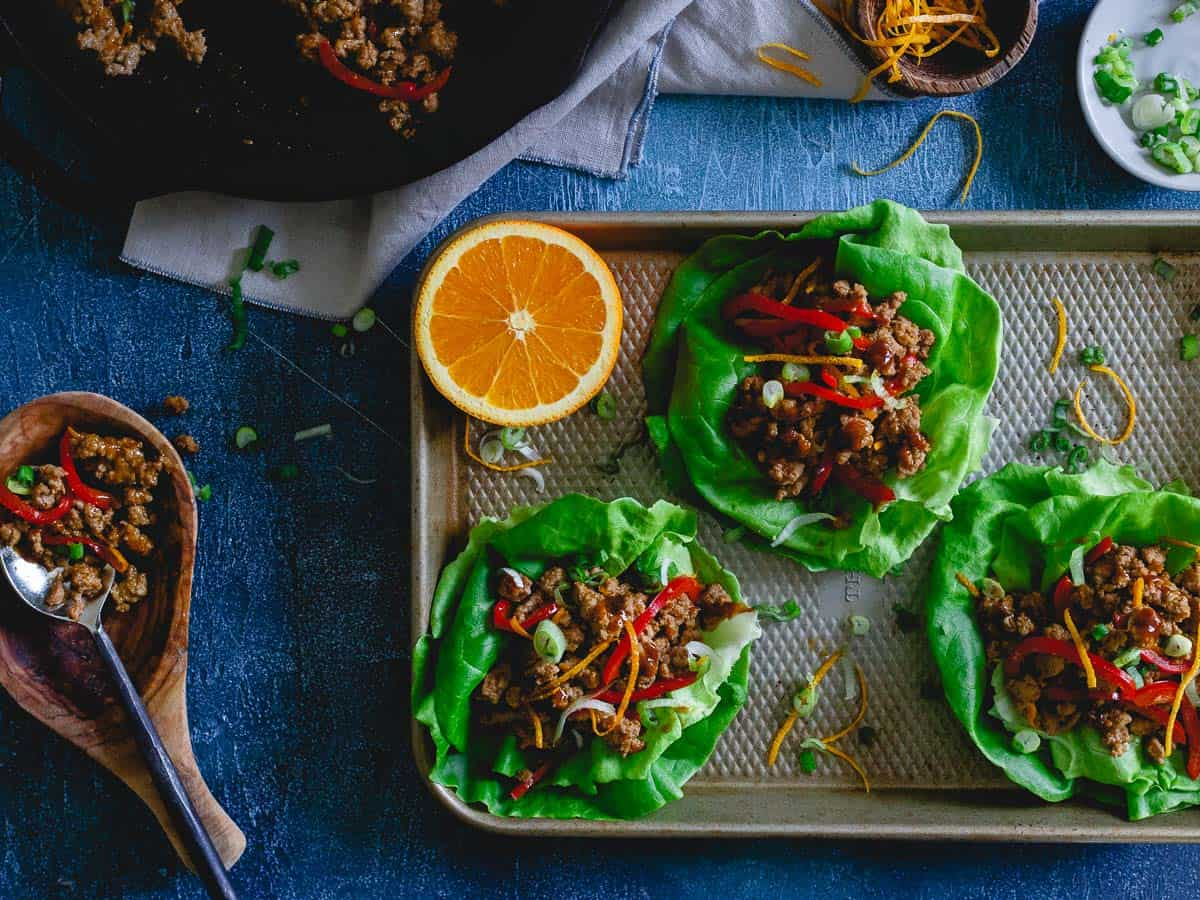 Orange turkey Asian lettuce wraps are a simple, healthy meal packed with tons of flavor from an easy fresh homemade orange sauce.