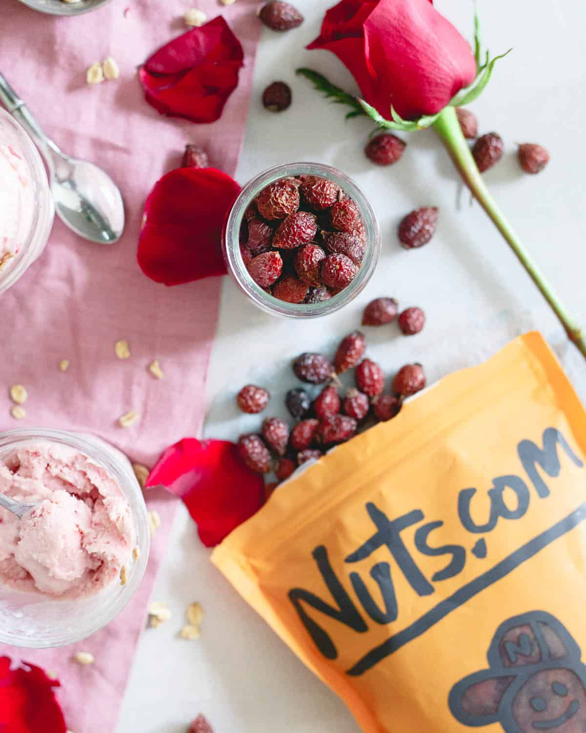 Rosehips are infused in milk and honey to give this ice cream a subtle floral and citrus flavor combined with sweet spring strawberries.