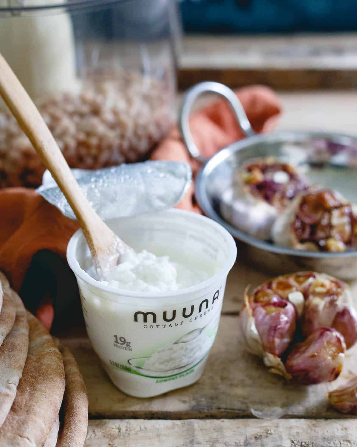 Creamy Muuna cottage cheese is the perfect addition to this roasted white bean garlic dip.